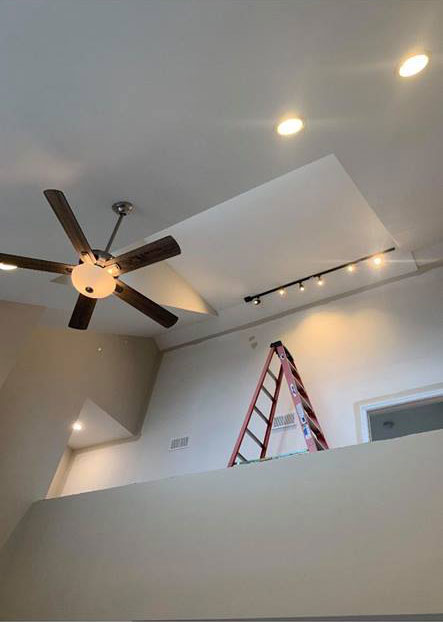 Track lighting and ceiling fan work complete for Imperial Contracting